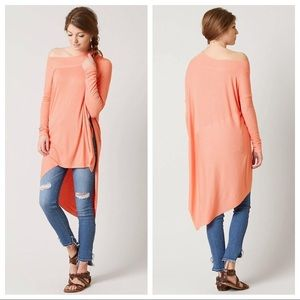 Free People Grapevine Asymmetrical Tunic Coral